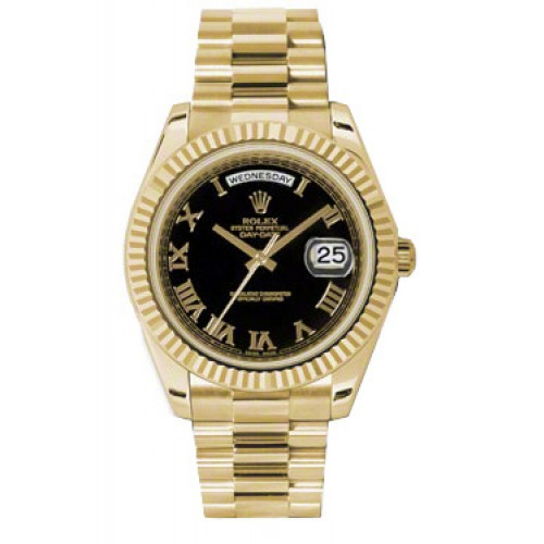 c6af4a946dace Rolex Day-Date II Black Roman Numeral Dial Yellow Gold President 218238 KR