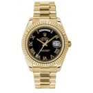 Rolex Day-Date II Black Roman Numeral Dial Yellow Gold President 218238 KR