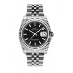 Rolex Datejust Black Index Dial Fluted Bezel Jubilee 116234 KXJ