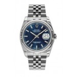 Rolex Datejust Blue Index Dial Fluted Bezel Jubilee 116234 LXJ