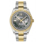 Rolex Datejust II Grey Roman Dial 18kt Yellow Gold Bezel Two Tone Oyster Bracelet Mens Watch 116333GRO