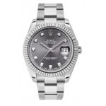 Rolex Datejust II Automatic Diamond Rhodium Dial Stainless Steel Mens Watch 116334RDO