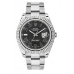 Rolex Datejust II Black Roman Dial Stainless Steel Mens Watch 16334BKRO