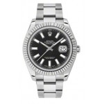 Rolex Datejust II Black Index Dial Fluted 18k White Gold Bezel Oyster Bracelet Mens Watch 116334BKIO