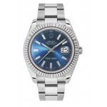 Rolex Datejust II Blue Index Dial Fluted 18k White Gold Bezel Oyster Bracelet Mens Watch 116334BLIO