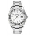 Rolex Datejust II White Dial 18k White Gold Stainless Steel Oyster Bracelet 16334WIO