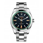 Rolex Milgauss Black Index Dial Domed Bezel Green Crystal Mens Watch 116400 V