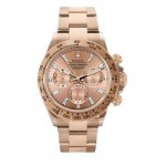Rolex Daytona Rose Baguette Diamond Dial 18k Everose Gold Mens Watch 116505 B