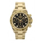 Rolex Daytona Black Diamond Dial 18K Yellow Gold Oyster Bracelet 116528 BKD