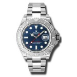 Rolex Yachtmaster Steel and Platinum Blue Dial Mens Watch 116622