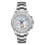 Rolex Yachtmaster II White Arabic Dial Oyster Bracelet 18k White Gold and Paltinum Mens Watch 116689