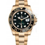 Rolex GMT Master II Black Index Dial Oyster Bracelet 18k Yellow Gold Mens Watch 116718 BK