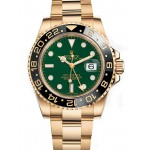 Rolex GMT Master II Green Dial Oyster Bracelet 18k Yellow Gold Mens Watch 116718 G
