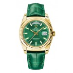 Rolex Day-Date 36 mm Green Index Dial Yellow Gold 118138 GXL