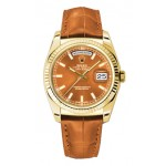 Rolex Day-Date 36 mm Cognac Index Dial Yellow Gold 118138 COL