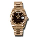 Rolex Day-Date 36 mm Black Arabic Numeral Dial Everose Gold 118205 BKAP