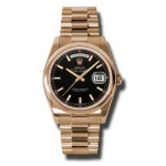 Rolex Day-Date 36 mm Black Index Dial Everose Gold 118205 BKSP