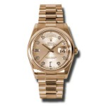 Rolex Day-Date 36 mm Pink Champagne Diamond Dial Everose Gold 118205 CHDP