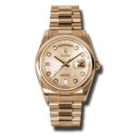 Rolex Day-Date 36 mm Pink Champagne Jubilee Diamond Dial Everose Gold 118205 CHJDP