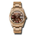 Rolex Day-Date 36 mm Chocolate Diamond & Ruby Dial Everose Gold 118205 CHODRO