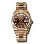 Rolex Day-Date 36 mm Chocolate Diamond & Ruby Dial Everose Gold 118205 CHODRP