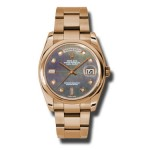 Rolex Day-Date 36 mm Dark Mother Of Pearl Diamond Dial Everose Gold 118205 DKMDO