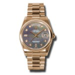 Rolex Day-Date 36 mm Dark Mother Of Pearl Diamond Dial Everose Gold 118205 DKMDP