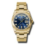 Rolex Day-Date 36 mm Blue Diamond Dial Yellow Gold 118208 BDO