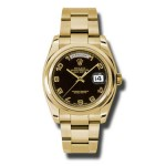 Rolex Day-Date 36 mm Black Arabic Numeral Dial Yellow Gold 118208 BKAO