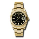 Rolex Day-Date 36 mm Black Diamond Dial Yellow Gold 118208 BKDO