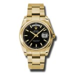 Rolex Day-Date 36 mm Black Index Dial Yellow Gold 118208 BKSO