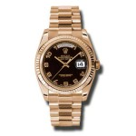 Rolex Day-Date 36 mm Black Arabic Numeral Dial Everose Gold 118235 BKAP