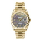 Rolex Day-Date 36 mm Dark Mother Of Pearl Diamond Dial Yellow Gold 118238 DMDP