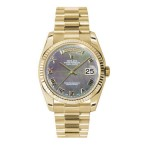 Rolex Day-Date 36 mm Dark Mother Of Pearl Roman Dial Yellow Gold 118238 DMRP