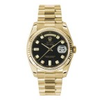Rolex Day-Date 36 mm Black Diamond Dial Yellow Gold 118238 KDP