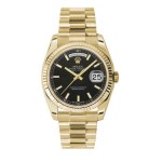 Rolex Day-Date 36 mm Black Index Dial Yellow Gold 118238 KXP