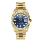 Rolex Day-Date 36 mm Blue Diamond Dial Yellow Gold 118238 LDP