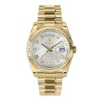 Rolex Day-Date 36 mm Silver Jubilee Diamond Dial Yellow Gold 118238 SJDP