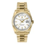 Rolex Day-Date 36 mm White Index Dial Yellow Gold 118238 WXP