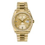Rolex Day-Date 36 mm Champagne Diamond Dial Diamond Bezel Yellow Gold 118348