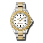 Rolex Yachtmaster White Index Dial Oyster Bracelet Two Tone Mens Watch 16623W