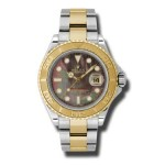 Rolex Yacht Master Dark Mother of Pearl Dial Stainless Steel 18kt Yellow Gold Oyster Mens Watch 16623