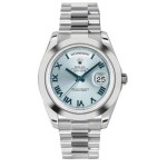 Rolex Day-Date II Ice Blue Roman Numeral Dial Platinum President 218206 BR