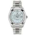 Rolex Day-Date II Ice Blue Index Dial Platinum President 218206 BX