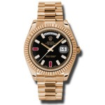 Rolex Day-Date II Black Ruby Diamond Dial Automatic 18kt Everose Gold 218235 BKDRP