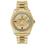 Rolex Day-Date II Champage Diamond & Ruby Dial Yellow Gold President 218238 CB