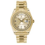 Rolex Day-Date II Champagne Diamond Dial Yellow Gold President 218238 CD