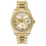 Rolex Day-Date II Champagne Roman Numerals Dial Yellow Gold President 218238 CR