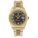 Rolex Day-Date II Black Wave Arabic Dial Yellow Gold President 218238 KA
