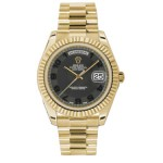 Rolex Day-Date II Black Arabic Dial Yellow Gold President 218238 KKA